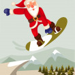 Cartoon vector graphic depicting a snowboarding Santa — Stock Photo