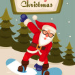 Stock Photo: Santa Claus on snowboard