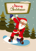 Santa Claus on snowboard — Stock Photo