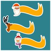 Santa Claus, reindeer, snowman Christmas ribbon. — Stock Photo