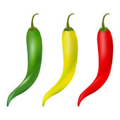 горячий перец перец векторный набор изолированные на белом фоне. красный, желтый и зеленый. — Стоковое фото