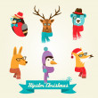 Christmas hipster animals. Vector illustration — Stock Photo