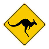 Kangaroo warning sign (Yellow sign) — Stock Photo
