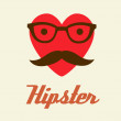 Print I love Hipster style, glasses and mustaches. vector illustration background — Stock Photo