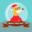 Christmas background, Fox, frame and ribbon — Stock Photo