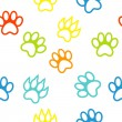 Colored pattern with paw prints dog. cat — Stock Photo
