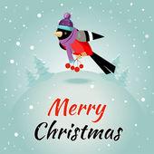 Weihnachts-grußkarte mit finken und rowan, vektor-illustration. — Stockfoto