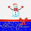 Snowman design on snowflake background. vector illustration — Stock Photo