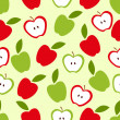 Seamless apple background - vector pattern — Stock Vector
