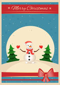 Christmas time snowman vector postcard — Vettoriale Stock