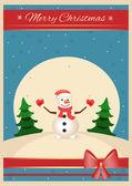 Christmas time snowman vector postcard — Stock Vector