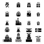 Gift box icon set different styles. Vector illustration — Stock Vector