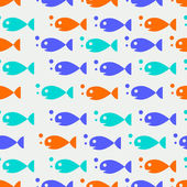 Vector seamless pattern with fishes, fully editable file with clipping masks and pattern in swatch menu — Stock Vector