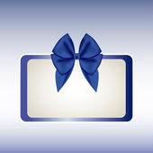 ギフトカード ブルー リボン付き。ベクトル — ストックベクタ