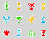 Trophy and awards icons set. vector illustration — Stock Vector