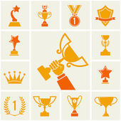 Trophy and awards icons set. vector illustration — Stok Vektör