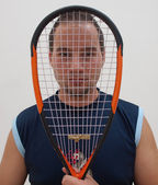 Squash player with racke — Stock Photo