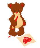 Teddy bear draws heart on paper — Stock Vector