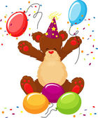 Cute teddy bear celebrates birthday — Stockvector
