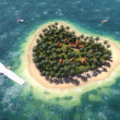 Plane over the heart-shaped island — Stock Photo #40589557