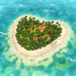 Tropical island in the shape of heart — Stock Photo