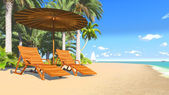 Deckchairs and parasol on a tropical beach 3 — Stock Photo
