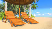 Deckchairs and parasol on a tropical beach 2 — Stock Photo