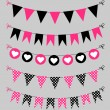 Bunting set pink and black — Stock Vector #44207977