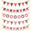 Bunting set pink and brown — Stock Vector #44207983