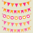 Bunting set pink and orange with hearts and polka dots — Stock Vector #44208037