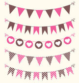 Bunting set pink and brown — Stock Vector