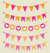 Bunting set pink and orange with hearts and polka dots — Stock Vector