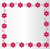 Picture frame with big and small pink flowers — Stock Vector