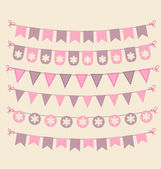 Retro bunting set patel pink design elements — Stock Vector