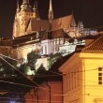 Night Prague with gothic Castle — Stock Photo