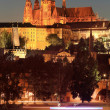 Stock Photo: Night Prague gothic Castle above River Vltava