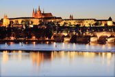 Prague gothic Castle with Charles Bridge — Stock Photo
