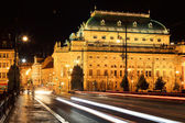 The night View on the Prague National Theater, Czech Republic — Fotografia Stock