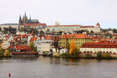 Autumn Prague gothic Castle with Charles Bridge, Czech Republic — Stock Photo