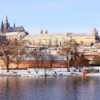 Romantic Snowy Prague gothic Castle above River Vltava, Czech Republic — Stok Fotoğraf #32276419