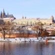 Stock fotografie: Romantic Snowy Prague gothic Castle above River Vltava, Czech Republic