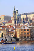 Snowy Prague St. Nicholas' Cathedral, Czech Republic — Stock Photo
