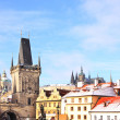 Romantic Snowy Prague gothic Castle above River Vltava, Czech Republic — Zdjęcie stockowe #32288899