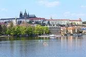 Autumn Prague City above River Vltava, Czech Republic — Stock Photo