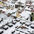 The Look on the snowy Roofs of the old gothic Town Prague — Foto de Stock