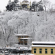 Stock fotografie: Romantic Snowy Prague above River Vltava, Czech Republic