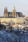 Romantic snowy Prague gothic Castle, Czech republic — Stock Photo