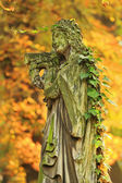 The stone Girl on Tomb from the old Prague Cemetery, Czech Republic — Stock Photo