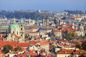 View on colorful autumn Prague City with its Towers and historical Buildings, Czech Republic — Stock Photo
