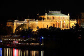 The night View on the Prague House of Artists above the River Vltava, Czech Republic — Stock Photo